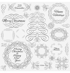 Design elements hand-drawn flourishes vector