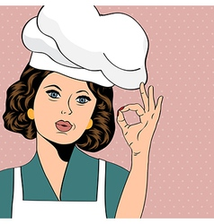 Pop art woman cook vector