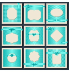Vintage patterned cards with gift bows and ribbons vector