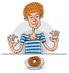 Teen boy with donut vector