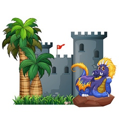 Dragon and a castle vector