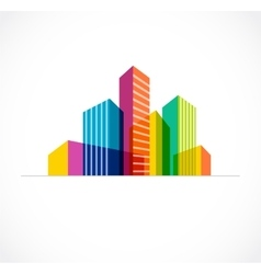Colorful real estate city and skyline icon vector