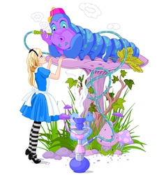 Alice and blue caterpillar vector