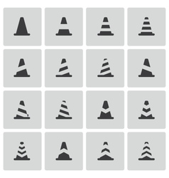 Black traffic cone icons set vector