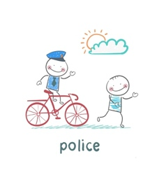 Police riding a bike for a criminal vector
