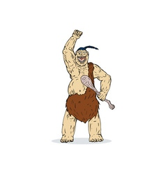 Super hero caveman vector