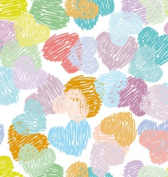 Seamless pattern with sketch hearts pastel color vector