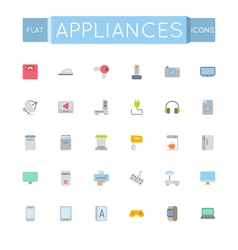 Flat appliances icons vector