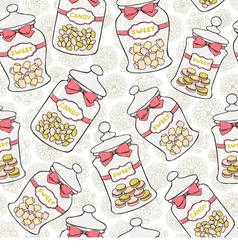 Jars of sweets seamless pattern vector