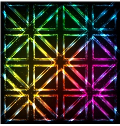 Shining neon lights rainbow squares background vector