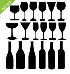 Wine bottles and glass silhouette vector