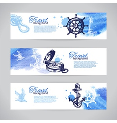 Set of travel banners sea nautical design vector