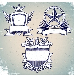 Set of sketch vintage shield labels vector