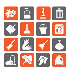 Silhouette cleaning and hygiene icons vector