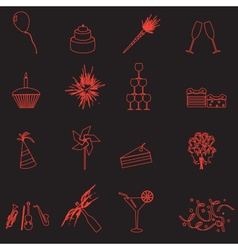 Celebration and party outline icons set eps10 vector