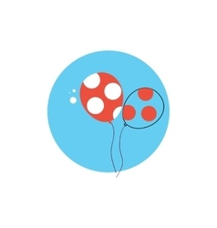 Line icon with flat graphics element of balloons vector