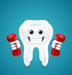 Tooth doing exercises with dumbbells vector