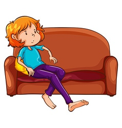 A woman resting at the sofa vector