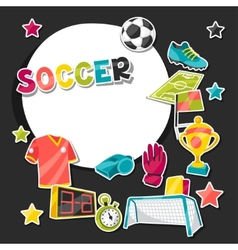 Sports background with soccer sticker symbols vector