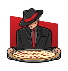 Mobster holding pizza vector