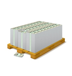 Pack of banknotes on a wooden pallet vector