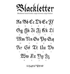 Blackletter font vector