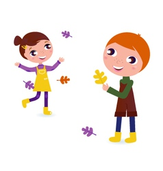 Autumn kids vector