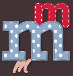 Set of stitched font - letter m vector