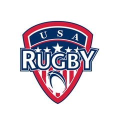 Rugby ball shield usa flag stars and stripes vector
