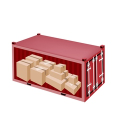 Cardboard boxes in cargo container vector