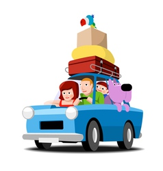 The family goes on vacation by car vector