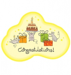 Mouse celebrate card vector