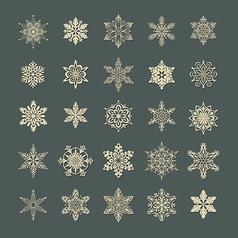 Snow flakes set 1 vector