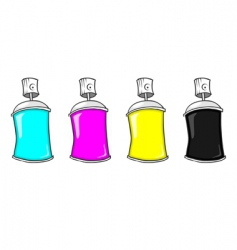 Cmyk spray cans vector