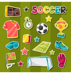 Set of sports soccer sticker symbols and icons vector