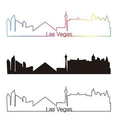 Las vegas skyline linear style with rainbow vector