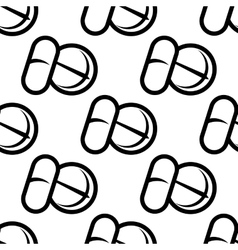 Seamless pattern of tablets and capsules vector