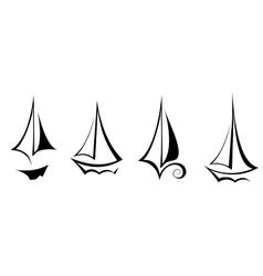 Flat design sailing yacht boat transportation icon vector