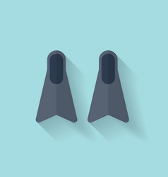 Flat diving flippers fins web icon vector