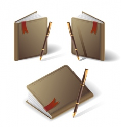Old diary icon vector