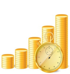 Stopwatch with stack of coins vector