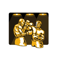 Boxer boxing knockout punch retro vector