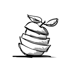Slices of fruits apple shape sketch for your vector