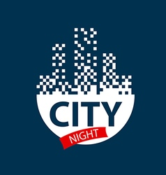 Logo glowing night city vector
