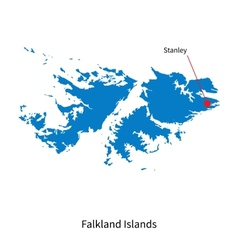 Detailed map of falkland islands and capital city vector