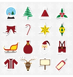 Christmas sticker icon set vector