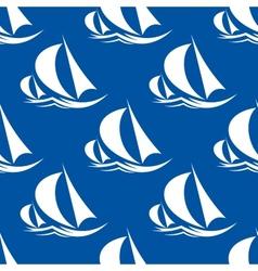 Seamless pattern of yachts and sailing ship vector