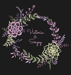 Floral wreath on the dark background vector