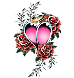 Gothic heart and rose vector