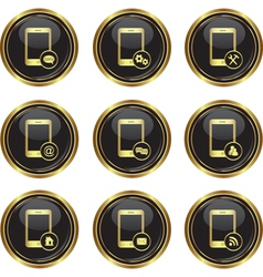 Set of phone icons with different menu vector